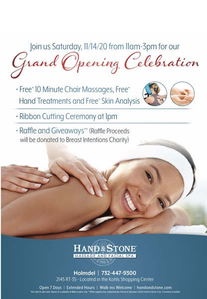 Holmdel Welcomes Hand Stone Massage And Facial Spa Join The Grand Opening Celebration And Ribbon Cutting November 14th Tapinto