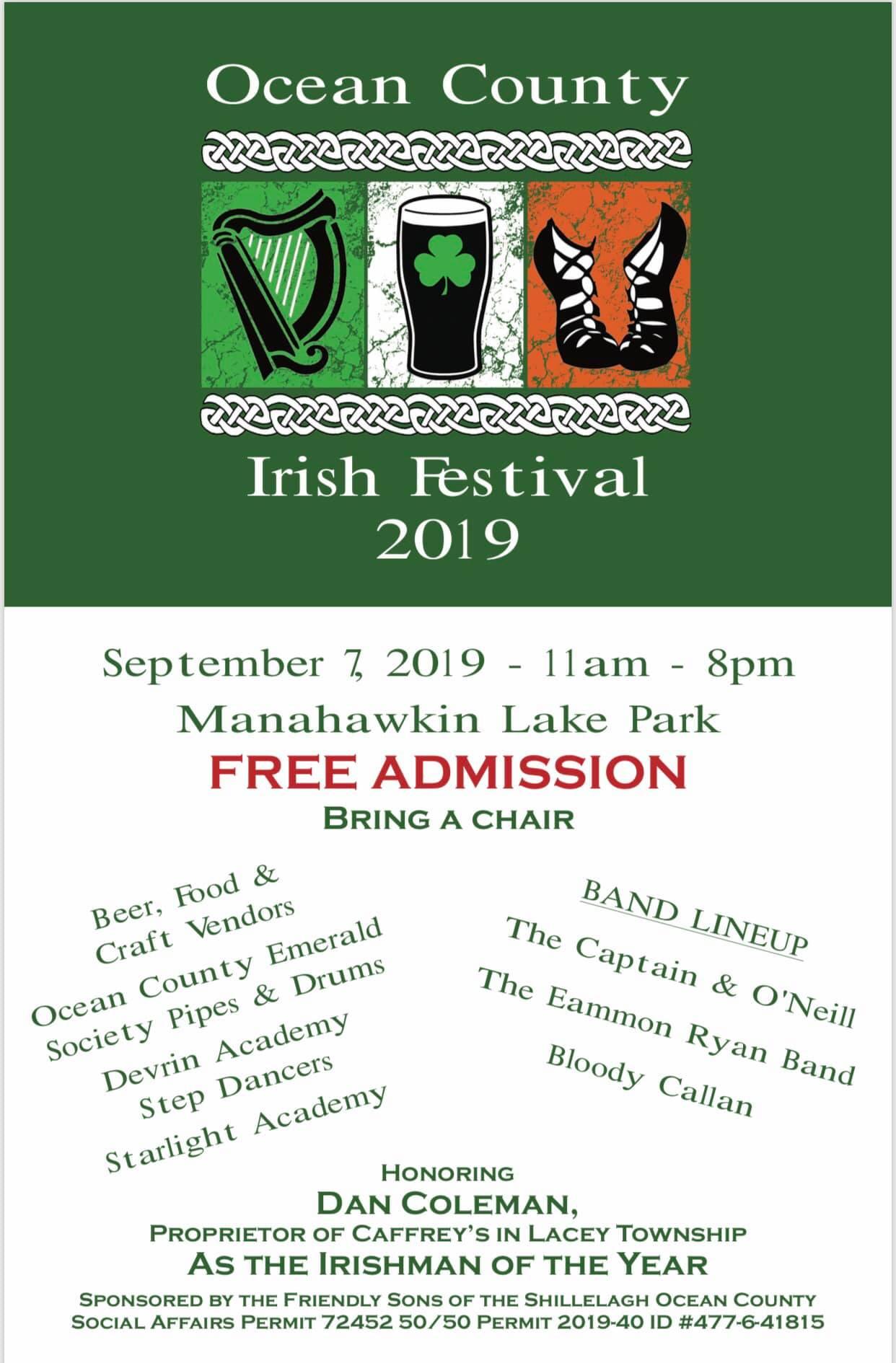 The Ocean County Irish Festival is Saturday at Manahawkin