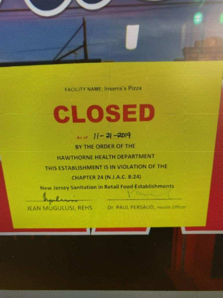 Shut Down Notice from Dr. Persaud, Health Inspector