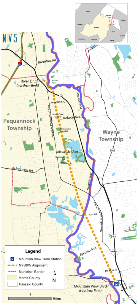 Map of the Proposed Pequannock to Wayne Pedestrian & Bike Path