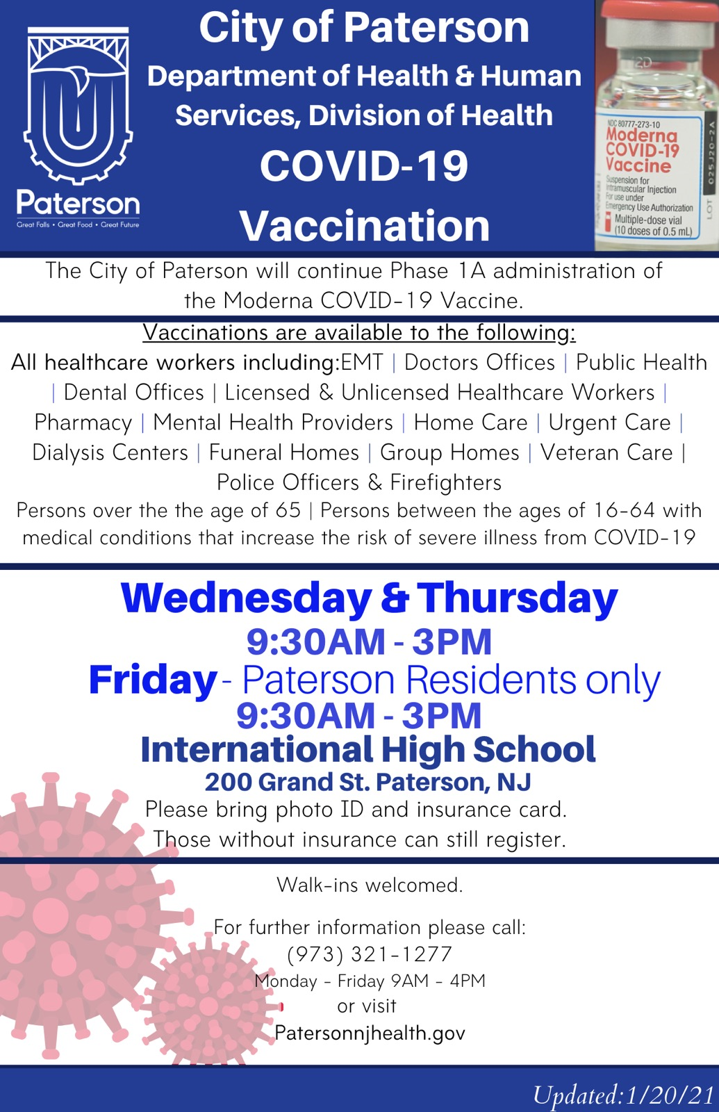City of Paterson Vaccination Hours