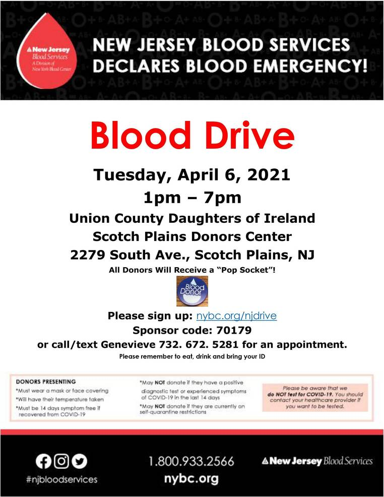 Union County Daughters of Ireland to Host Blood Drive on April 6 in Scotch Plains