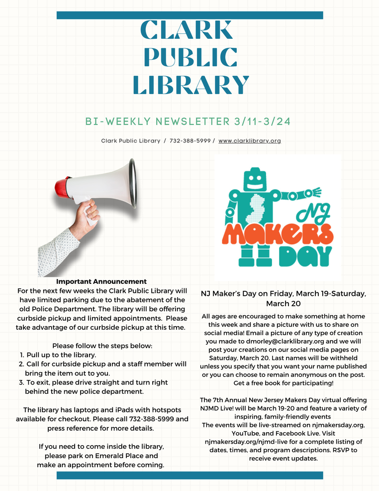 Important Message About March Visits to the Clark Public Library