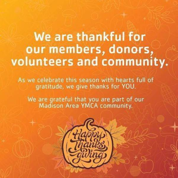 Madison YMCA: Week of Gratitude Day 3- Happy Thanksgiving