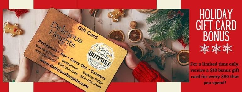 Holiday Gift Guide: Christmas Eve Menu at Delicious Heights; Gift Card Bonus Program