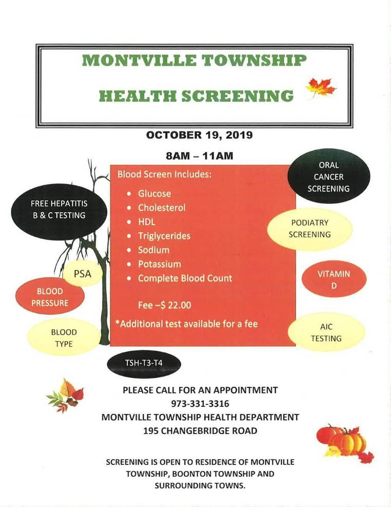 Health Screening Planned for Oct. 19
