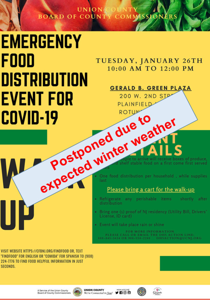 UPDATED: Plainfield is One of Three Upcoming County COVID-19 Emergency Food Distributions