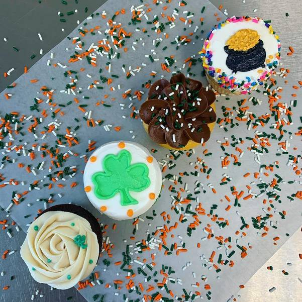 Sally Tracy Offers the Lucky Cupcake Flight: Sample one of each in this flight of four St Patrick's Day Cupcakes