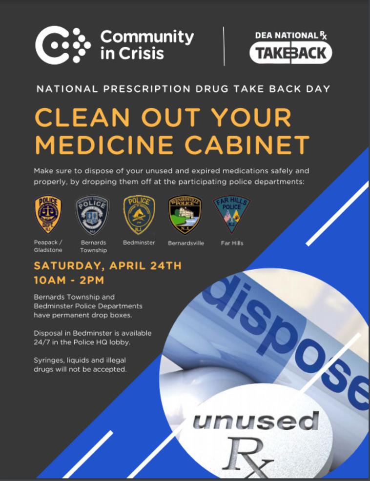 Bernardsville to Take Part in Drug Take Back Event