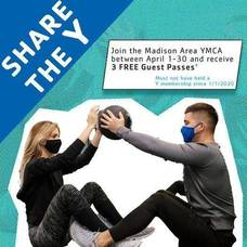 Share the Madison YMCA with a Friend; Join in April and Receive 3 Free Guest Passes