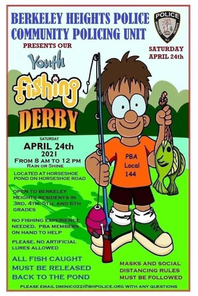 Berkeley Heights PBA #144 Hosts Annual Youth Fishing Derby, Saturday, April 24