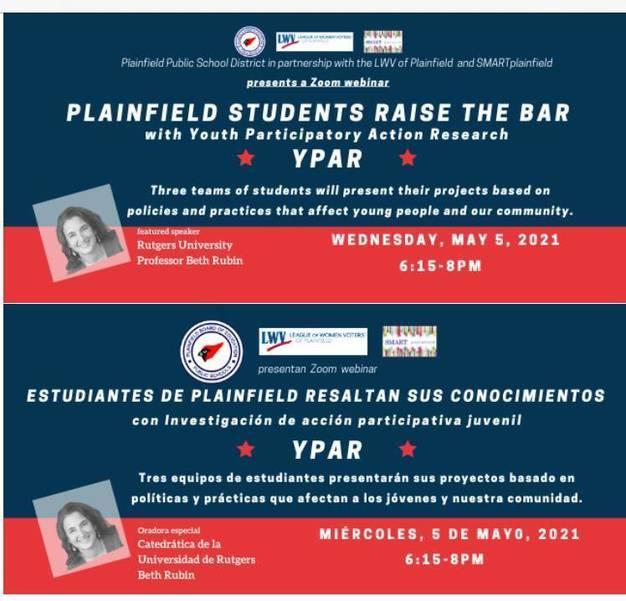 Plainfield Students from PAAAS and PHS Will Present Findings of Youth Action Research Projects/Estudiantes de PAAAS y PHS Presentarán los Resultados de su Investigación Bajo el Programa Youth Participatory Action Research