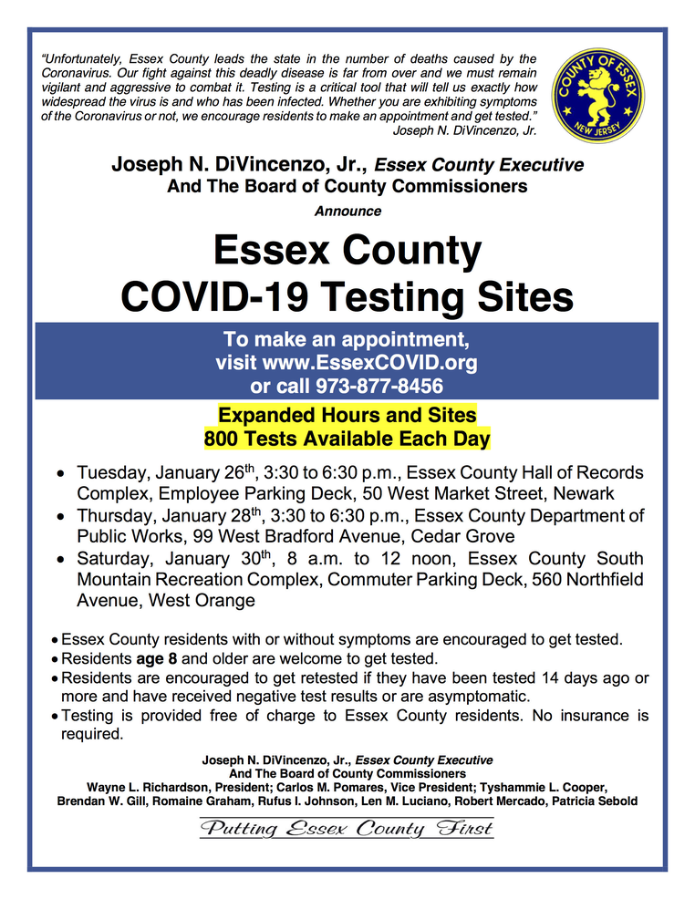 Coronavirus Testing Sites in Essex County, Jan. 26-30