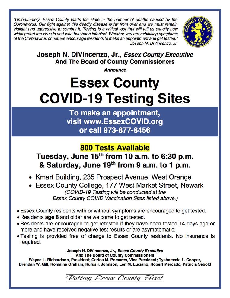 Essex County Coronavirus Testing, June 15-19
