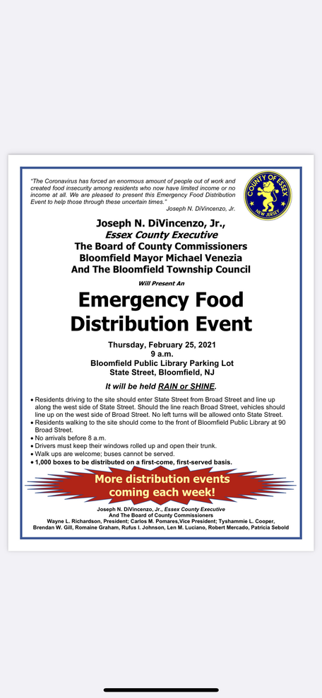 Emergency Food Distribution Event Set for Thursday in Bloomfield