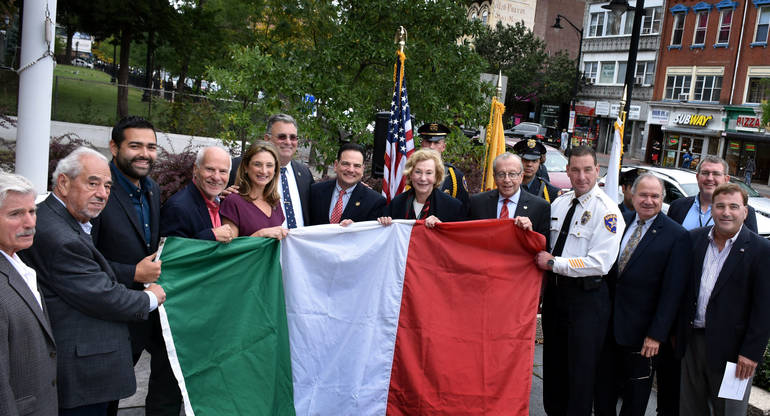 Columbus Day flag-raising in Elizabeth