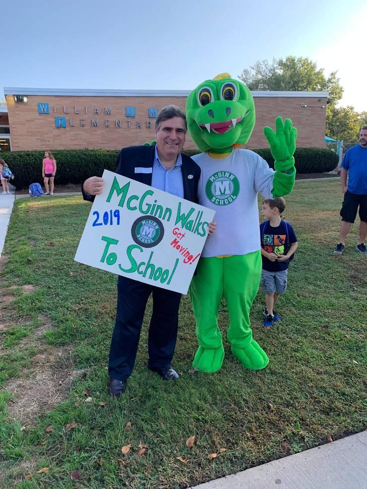 Scotch Plains Councilman Ted Spera participates in International Walk to School Day.