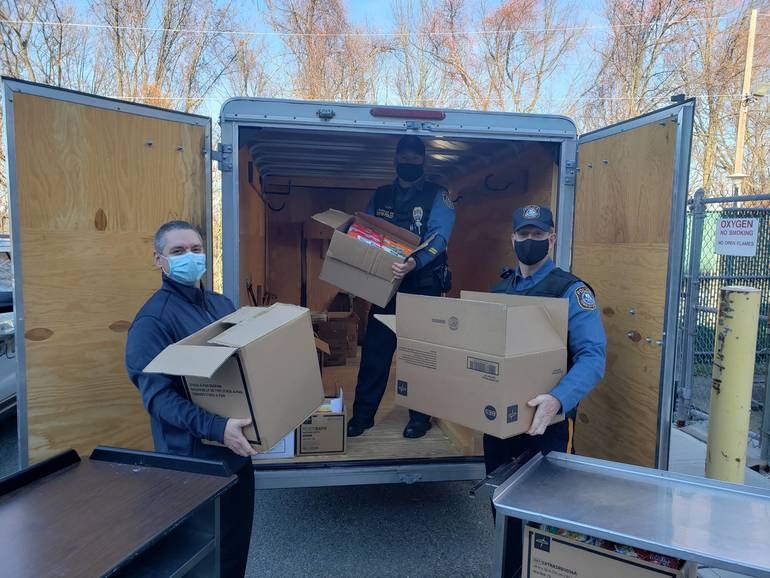Newton Police and Atlantic Health Stuff the Bus With Hearty Donations Amid Pandemic