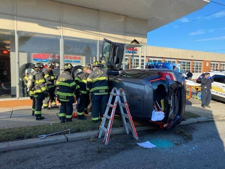 Hackensack Police and Fire Respond to a Car Into a Building Tuesday