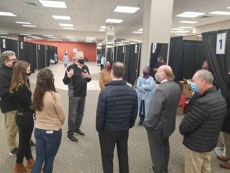Efficiency of Livingston Mall Vaccination Center Impresses Mayor and Council During Tour