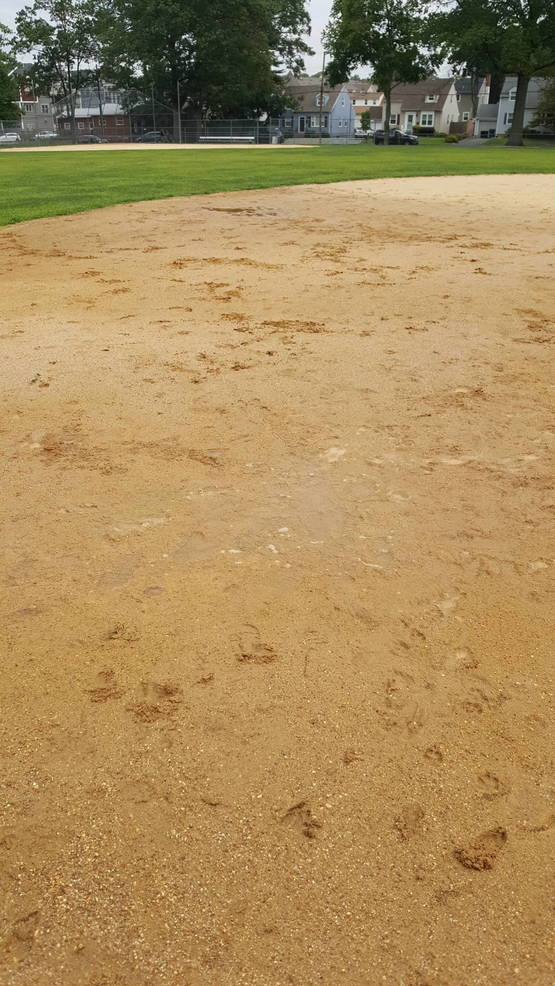 Messy field conditions at La Grande Park in Fanwood.