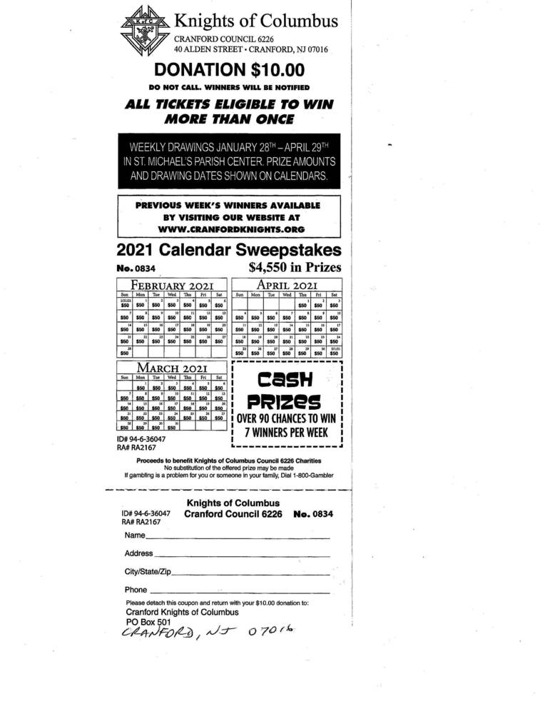 Best crop a55d541930d49813115f 2021 k of c calendar raffle ticket