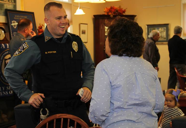 Sparta Police hold Coffee with a Cop at the library 2018