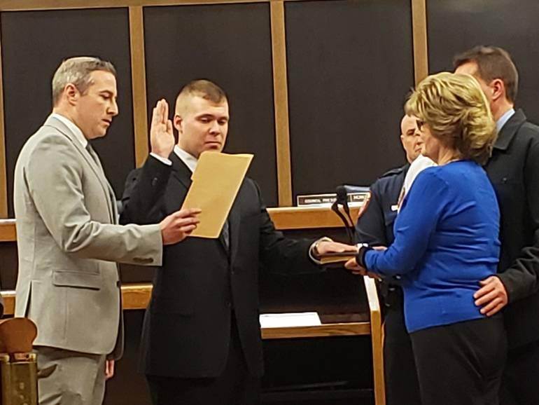 Kyle Ball is sworn in.