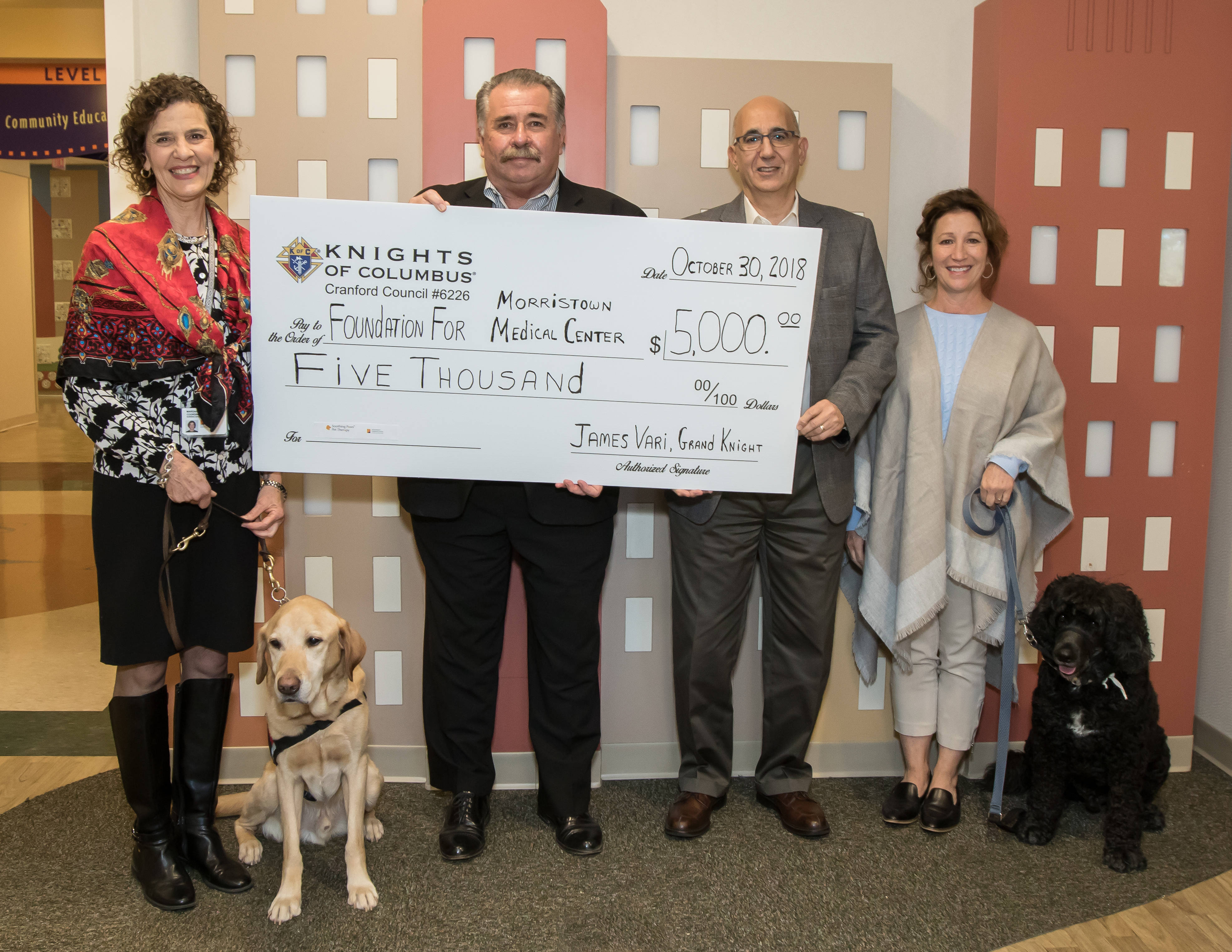 2018 K of C Golf Outing Donation to Atantic Health Soothing Paws Therapy Dogs II.jpg
