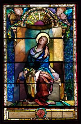 """""""St. Cecilia"""" Stained Glass Window Unveiled; Displayed in the Art Gallery of Acorn Hall"""