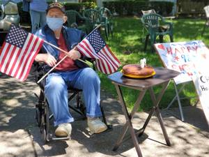 Glen Rock WWII Veteran Receives a Happy 98th Birthday Drive-by