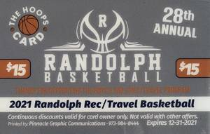 "Randolph Basketball's Annual Fundraising ""Hoops"" Discount Card On Sale Now"