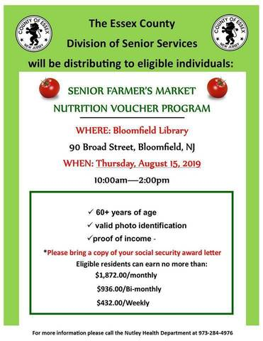 Senior Farmers Market Nutrition Program Vouchers Distribution