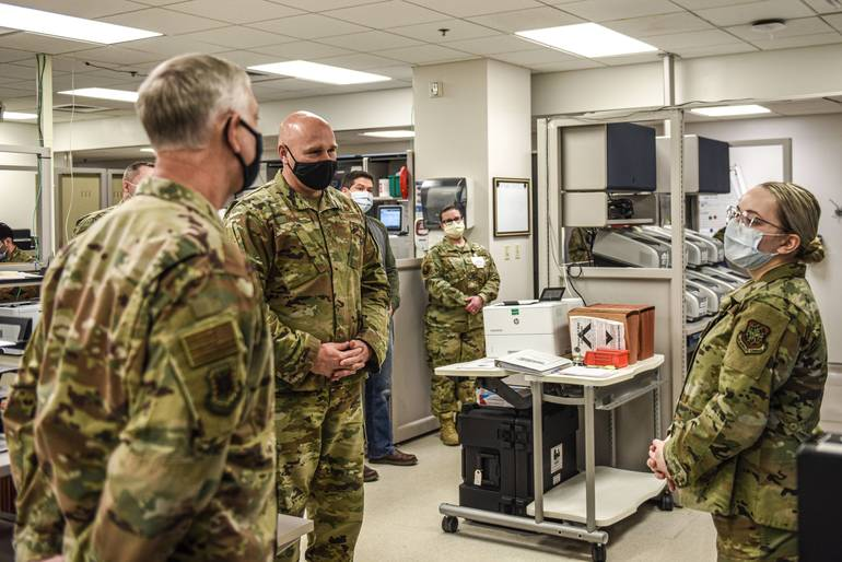 USAF Expeditionary Center Leadership Visits JBMDL, Talks COVID Strategy