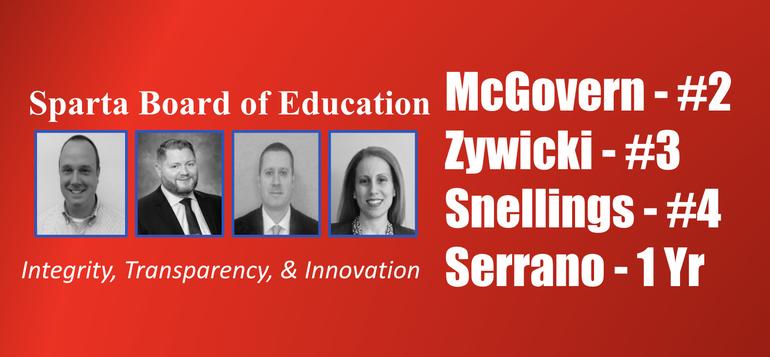McGovern, Zywicki, Snellings, Serrano for Sparta BoE