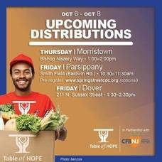 Table of Hope's Free Food Distribution is October 7  in Morristown