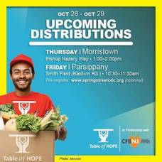 Morristown's Free Food Distribution Will Take Place on Thursday; October 28