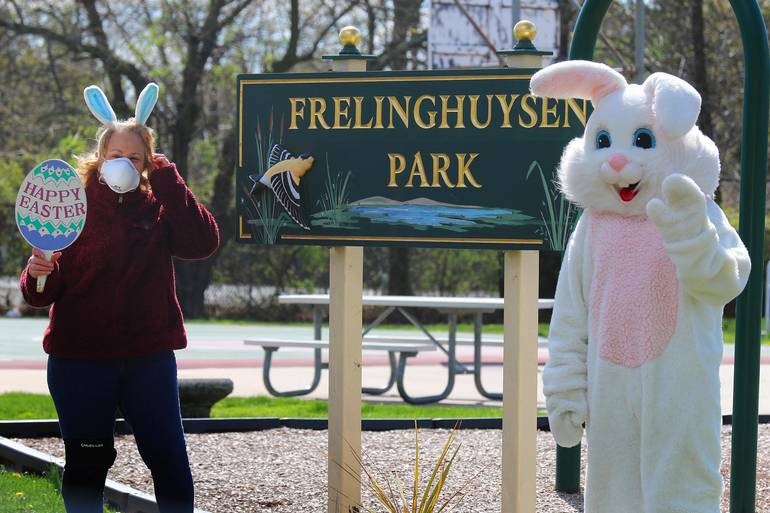 The Easter Bunny with Linda Schulte, of the borough events committee
