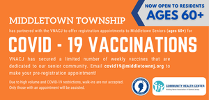 COVID-19 vaccine to be offered to township residents ages 60 and older in Middletown