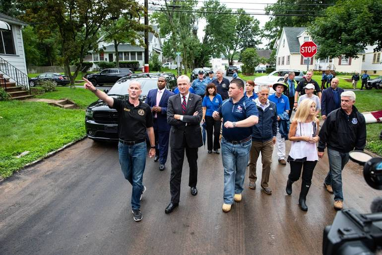 Gov. Murphy Tours Flood Battered Little Falls Neighborhood