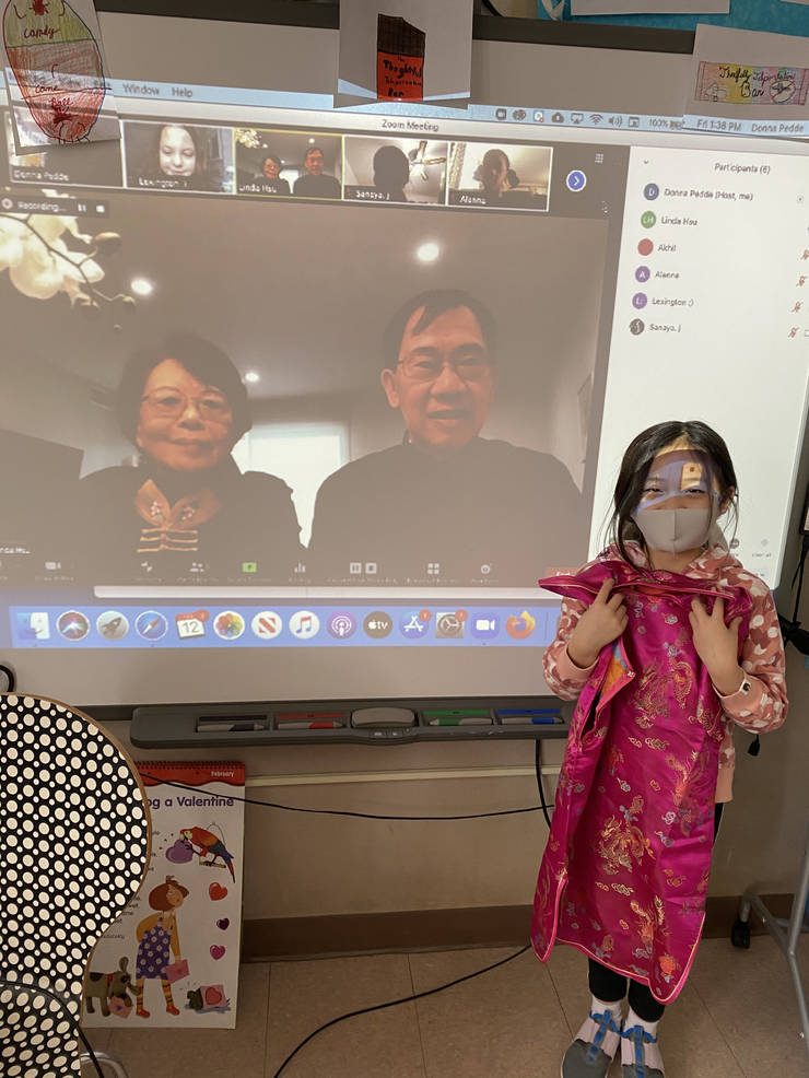 Rory Hsu and his third-grade classmates were joined by his grandparents to learn about Lunar New Year.