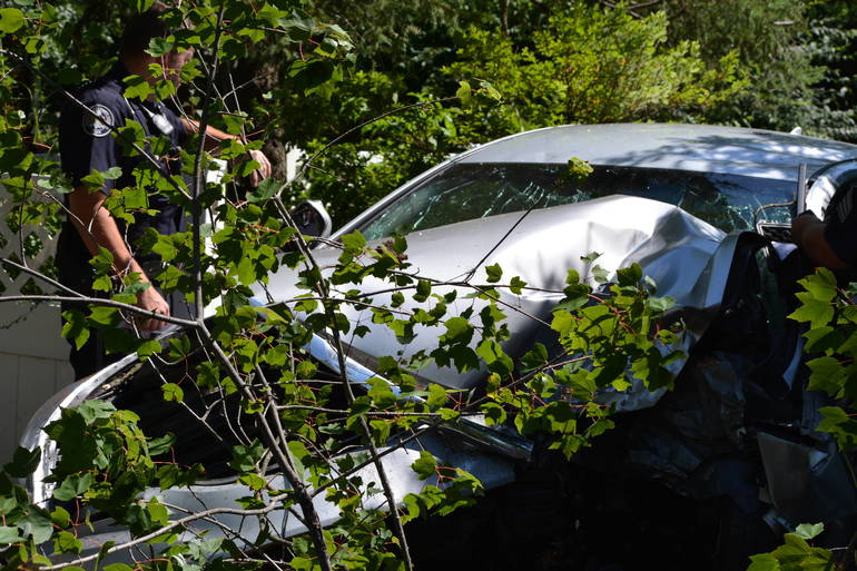 Lower Merion and Narberth Police responded to 400 Block of Wynnewood Road at Chestnut Narberth Accident 7-15-2019. grea shot of car.JPG