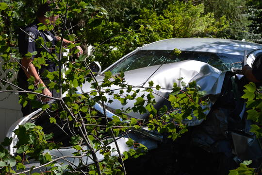 Top story 17943c9df94084a5702d 400 block of wynnewood road at chestnut narberth accident 7 15 2019. grea shot of car