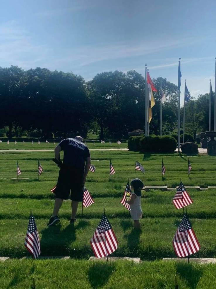 Local Boy Scout Troops and Bloomfield Fire Department Help Flag Veteran Graves