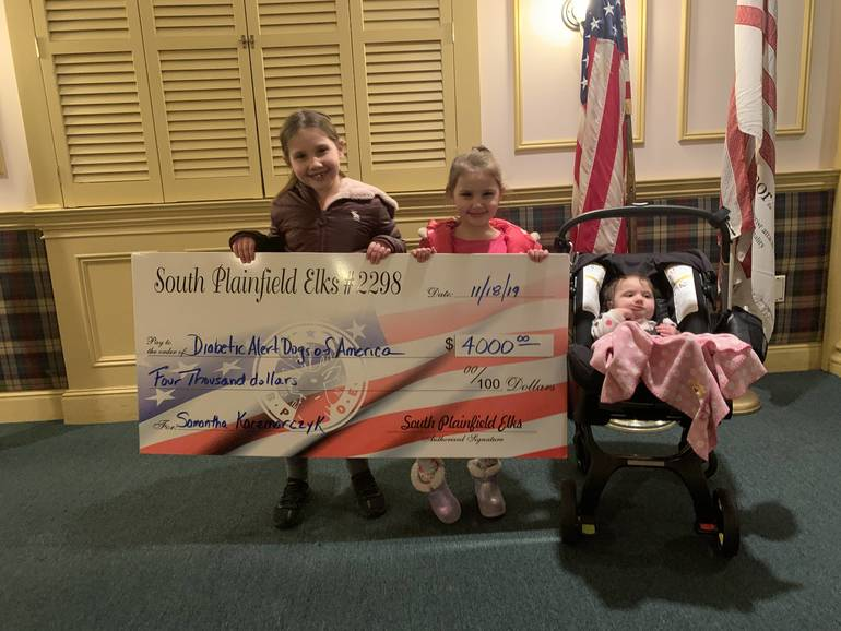 Elks Lodge #2298 Donates $4,000 for Diabetic Alert Dog for South Plainfield Resident Samantha Kaczmarczyk