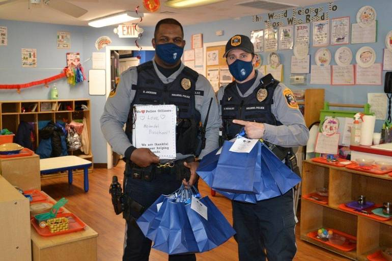 Operation Gratitude: Preschoolers Show Their Love  for Holmdel Police.