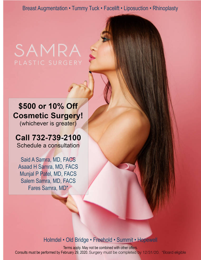 $500. or 10% OFF Plastic Surgery, schedule consultation today-SAMRA Plastic Surgery