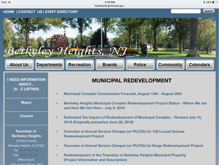 Chart Will Help Residents Keep Up With Work on Berkeley Heights Municipal Complex