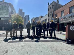 Mayor Fulop, Business Owners Kick Off Construction for Expanded Newark Ave. Pedestrian Plaza