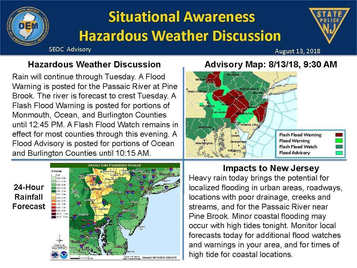 Flash Flood Warning Remains in Effect Until Monday Evening for Berkeley Heights